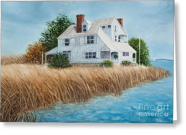 Blue Beach House Greeting Card by Michelle Wiarda
