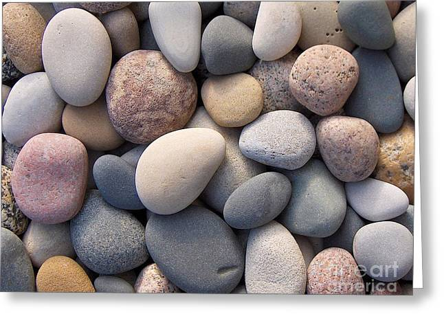 Blue Beach Stones Greeting Card by Kathi Mirto