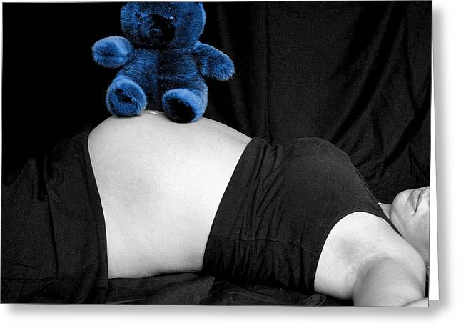 Blue Bear And Baby Belly Greeting Card by Melissa Kimball