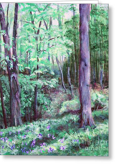 Blue Bells In Bloom Greeting Card by Janet Felts