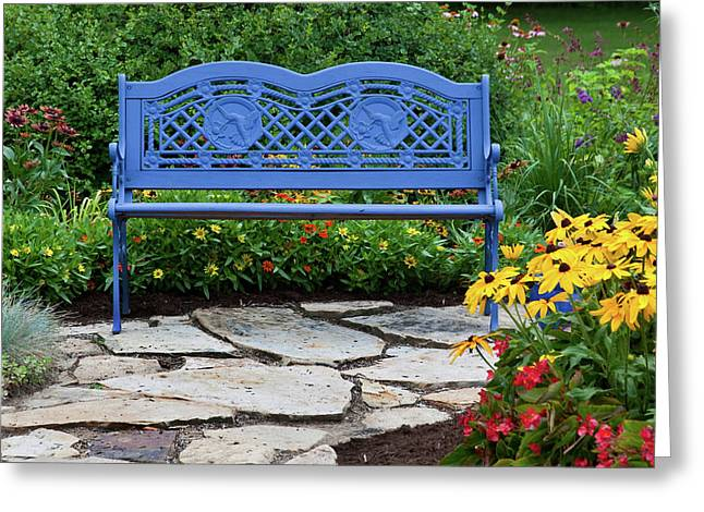 Blue Bench And Stone Path In A Flower Greeting Card