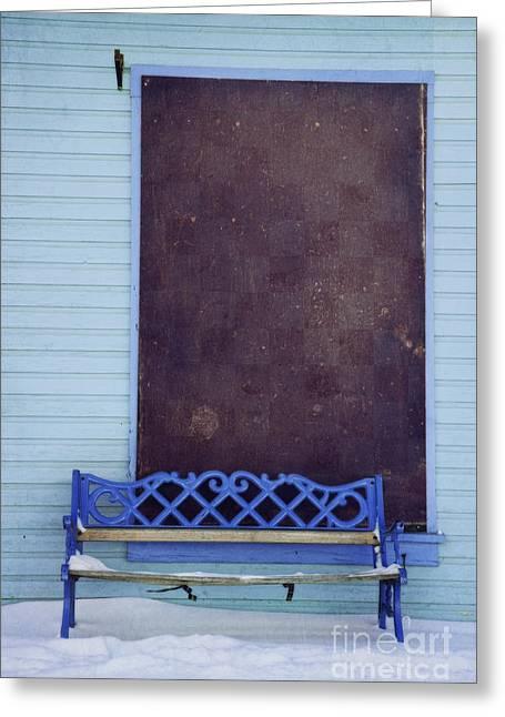 Blue Bench Greeting Card by Priska Wettstein