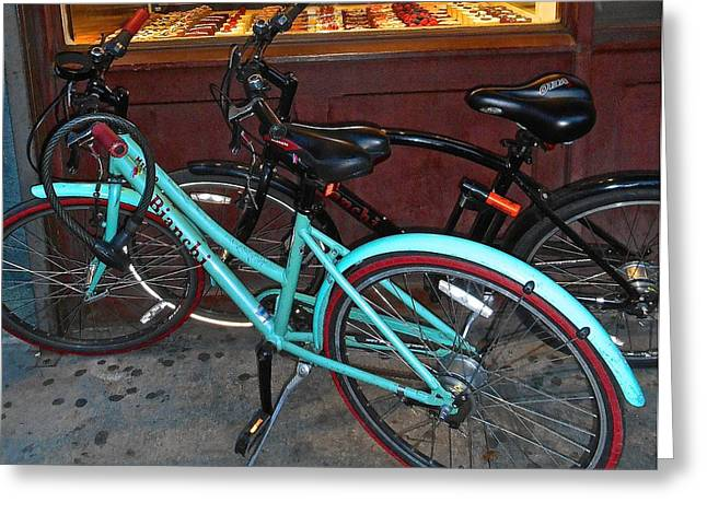 Greeting Card featuring the photograph Blue Bianchi Bike by Joan Reese