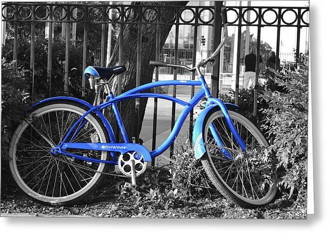 Blue Bike Greeting Card by Alex King