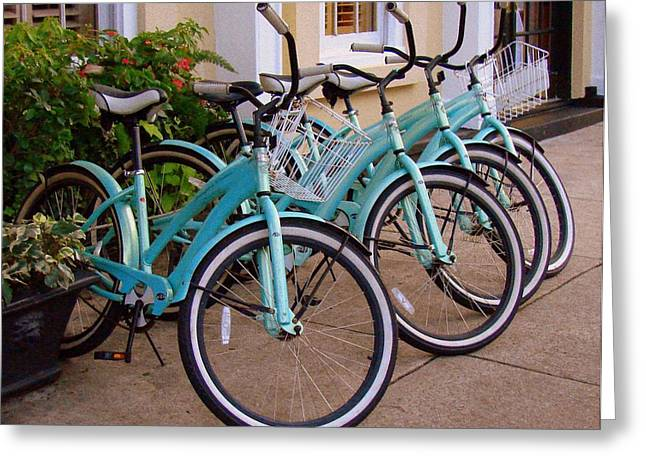 Greeting Card featuring the photograph Blue Bikes by Rodney Lee Williams