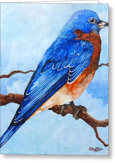 Greeting Card featuring the painting Blue Bird by Curtiss Shaffer