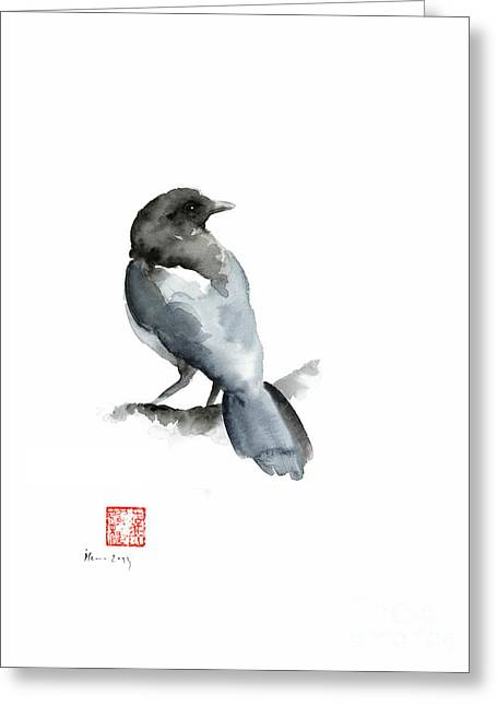 Blue Bird Grey Black Crow Silver Winter Scenery Landscape Watercolor Painting Greeting Card by Johana Szmerdt