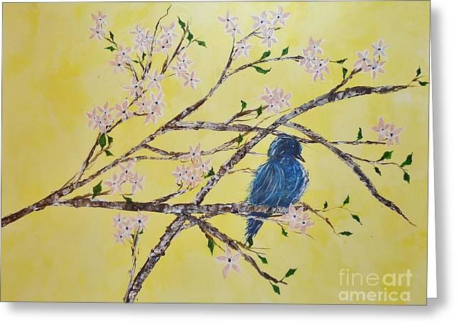 Blue Bird In Spring Greeting Card by Anne Clark