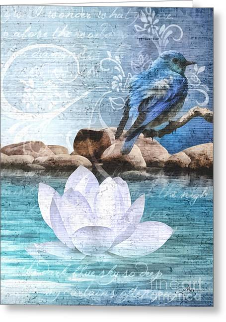 Blue Bird Greeting Card by Mo T
