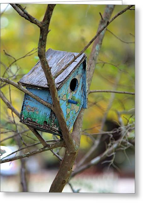 Greeting Card featuring the photograph Blue Birdhouse by Gordon Elwell