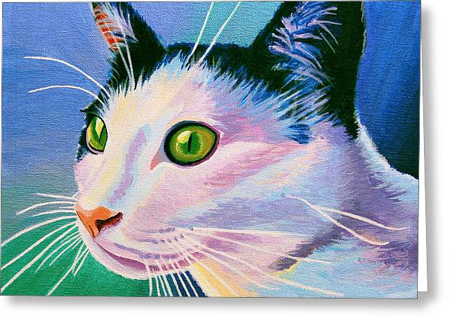 Blue Black And White Cat Greeting Card