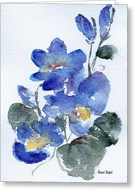 Greeting Card featuring the painting Blue Blooms by Anne Duke