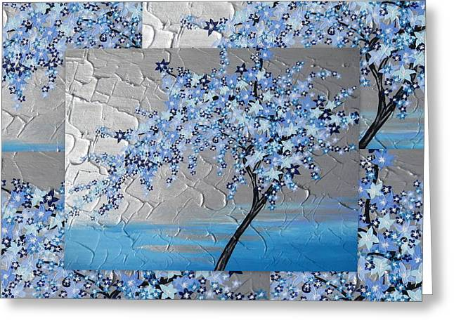 Blue Blossom Tree Greeting Card by Cathy Jacobs