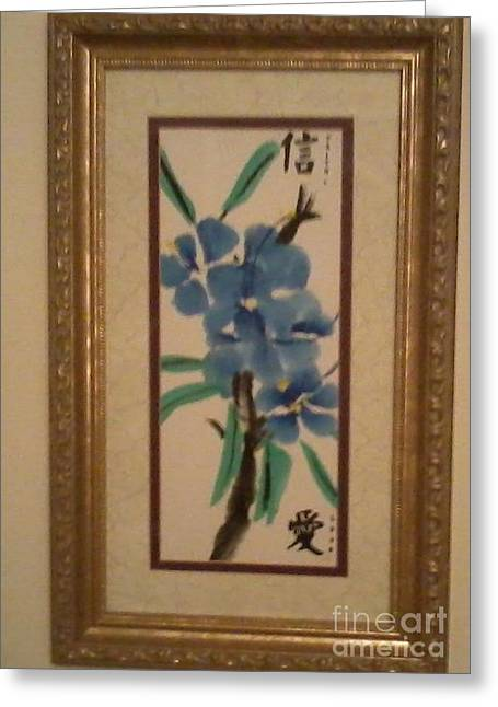 Blue Blossoms Greeting Card by Deborah Finley