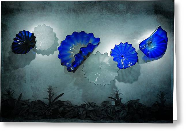 Blue Blown Glass Shadows Greeting Card by Dan Sproul