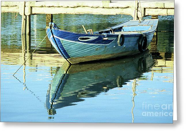 Blue Boat 01 Greeting Card