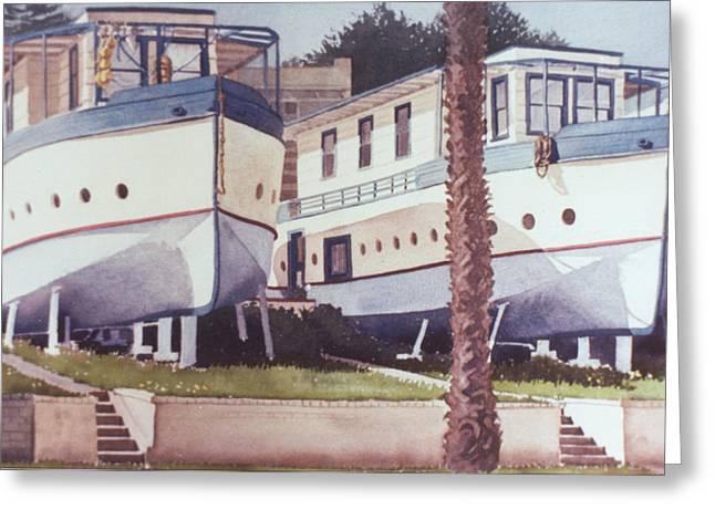 Blue Boat Apartments Encinitas Greeting Card by Mary Helmreich