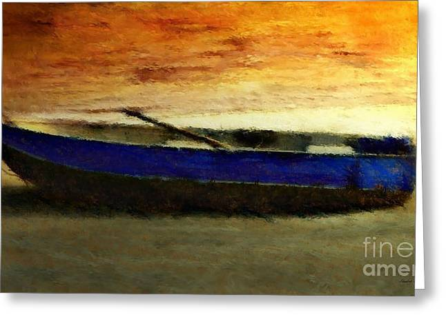 Blue Boat At Sunset Greeting Card