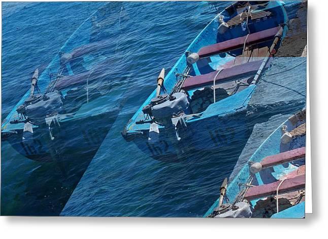 Blue Boat Black Sea  Greeting Card by Rick Todaro