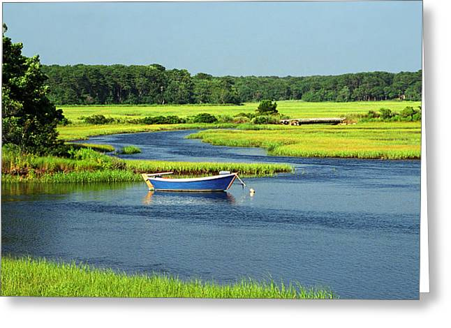 Blue Boat On The Herring River Greeting Card