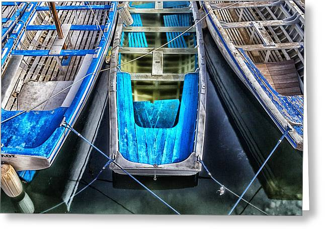 Blue Boats Greeting Card by Stelios Kleanthous