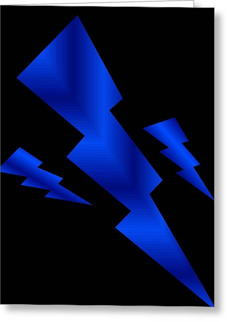 Blue Bolts Greeting Card by Gayle Price Thomas