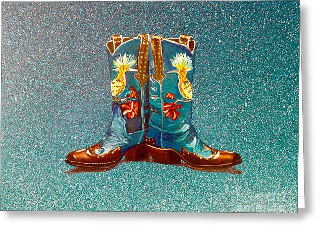 Blue Boots Greeting Card by Mayhem Mediums