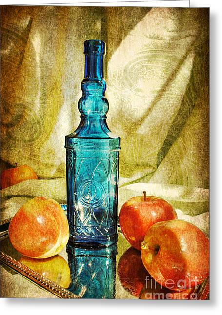 Blue Bottle With Apples Greeting Card