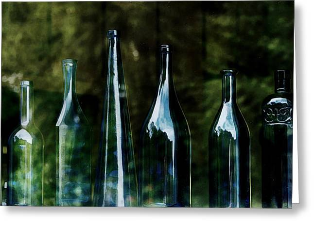 Blue Bottles On A Windowsill Greeting Card by Marion McCristall