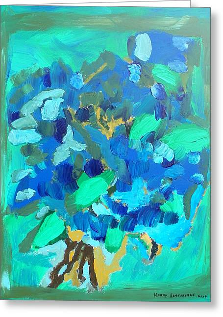 Blue Bouquet Greeting Card by Harry Hartshorne Jr