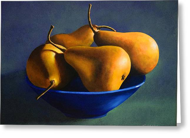Blue Bowl With Four Pears Greeting Card