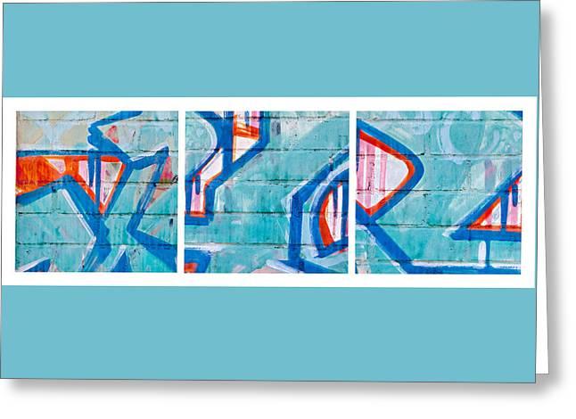 Blue Brick Graffiti Greeting Card by Art Block Collections