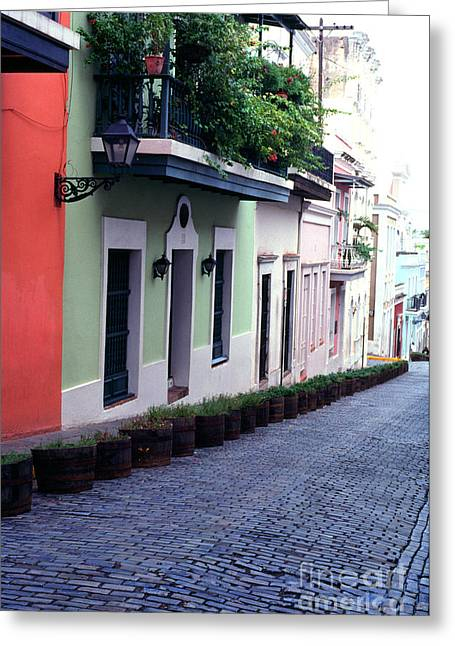 Blue Brick Street Old San Juan Greeting Card by Thomas R Fletcher