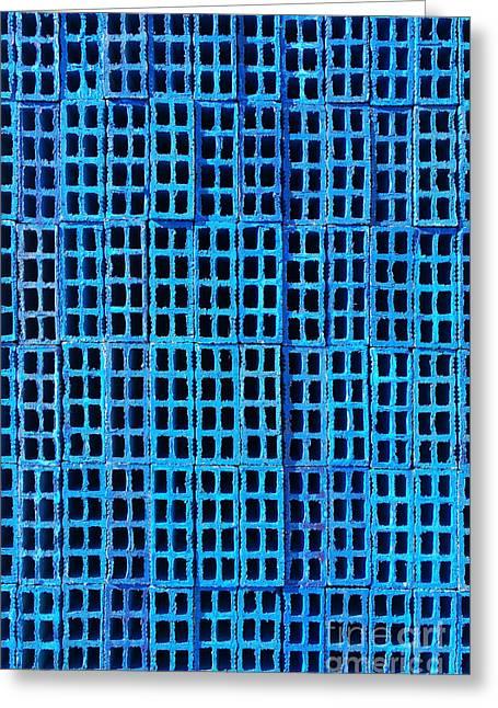 Blue Brick Wall Greeting Card by Carlos Caetano