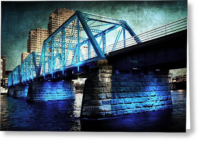 Blue Bridge Greeting Card by Evie Carrier