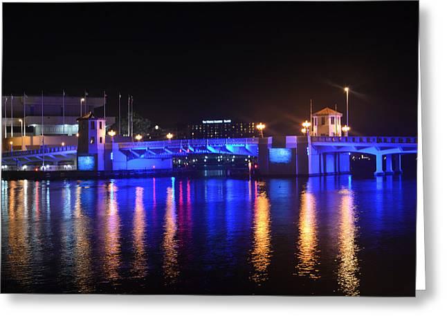 Blue Bridge Greeting Card by Victoria Clark