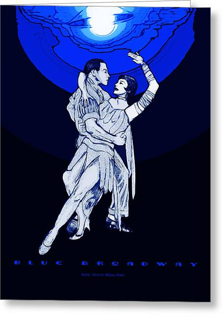 Blue Broadway Greeting Card by Christopher Korte