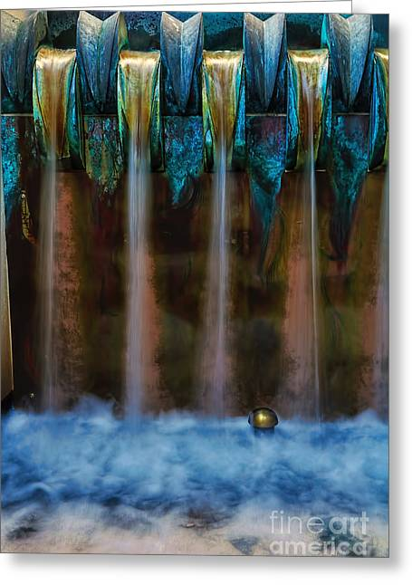 Blue Bronze Water Feature By Kaye Menner Greeting Card by Kaye Menner