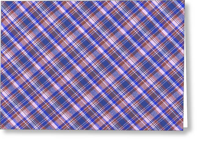 Blue Brown And White Plaid Design Background Greeting Card
