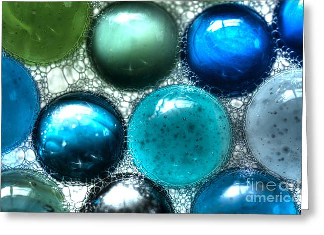 Blue Bubbles Greeting Card by Sarah Schroder