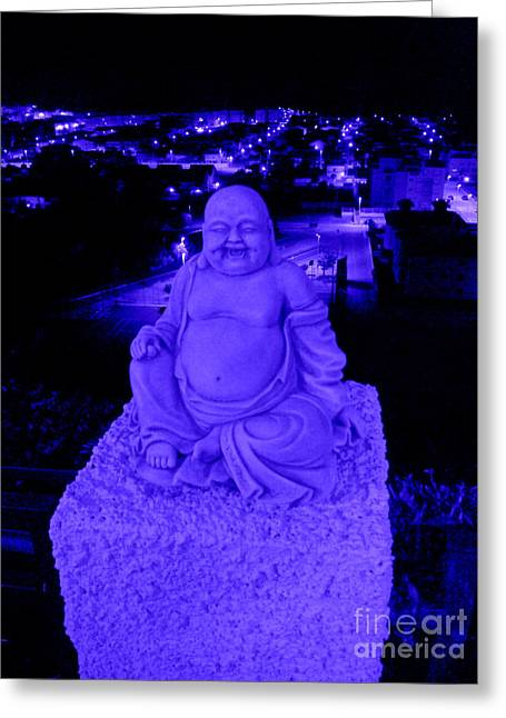 Blue Buddha And The Blue City Greeting Card by Linda Prewer