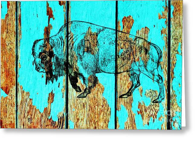 Greeting Card featuring the drawing Blue Buffalo 3 by Larry Campbell