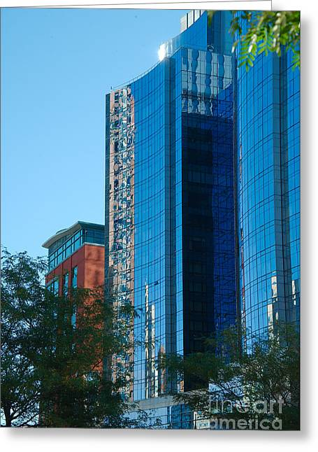 Blue Building Greeting Card by Jim  Calarese