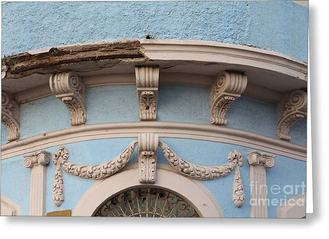 Blue Building Old Mazatlan Greeting Card by Linda Queally