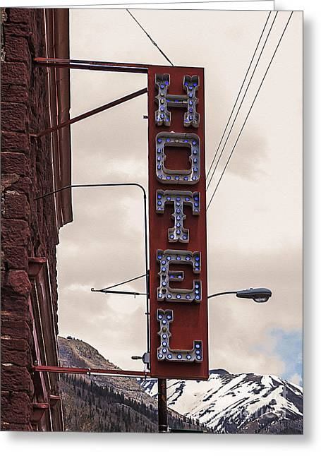 Blue Bulbs Hotel Sign Greeting Card by Janice Rae Pariza
