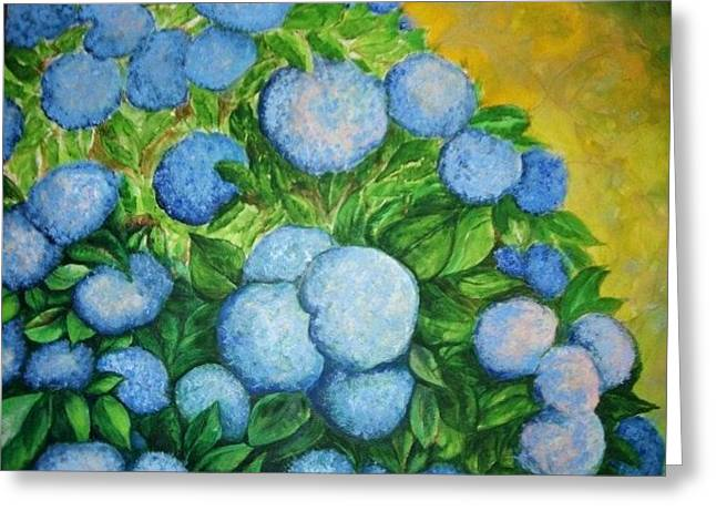 Greeting Card featuring the painting Blue Bush by Rae Chichilnitsky
