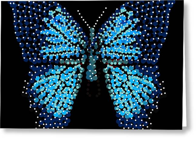 Blue Butterfly Black Background Greeting Card by R  Allen Swezey