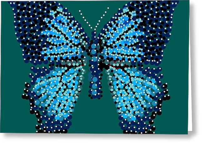 Blue Butterfly Green Background Greeting Card by R  Allen Swezey