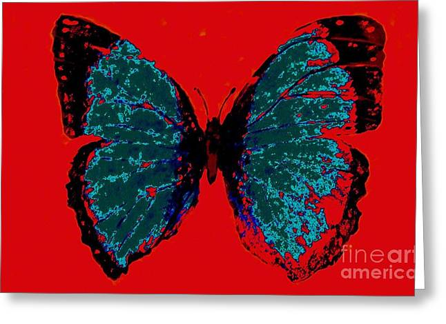 Greeting Card featuring the digital art Blue Butterfly  by Jasna Gopic