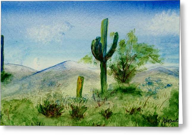 Greeting Card featuring the painting Blue Cactus by Jamie Frier
